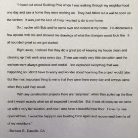 Building Pros remodeling client testimonial